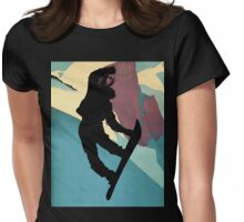 Snowboarding Betty, morning light Womens Fitted T-Shirt