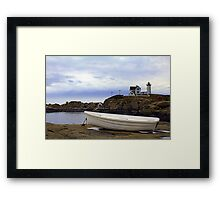 Nubble Light and Boat Framed Print