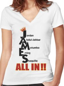 Lebron James ALL IN Women's Fitted V-Neck T-Shirt