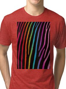 Bright Rainbow Zebra Tri-blend T-Shirt