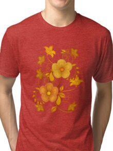 Shades of yellow .. flower design Tri-blend T-Shirt