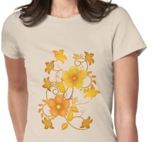Shades of yellow .. flower design Womens Fitted T-Shirt