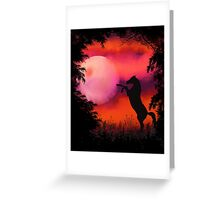 Fire Sky with moon and horse Greeting Card