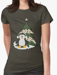 Christmas Penguin  Womens Fitted T-Shirt