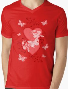 Butterfly Hearts .. Tee Shirt Mens V-Neck T-Shirt