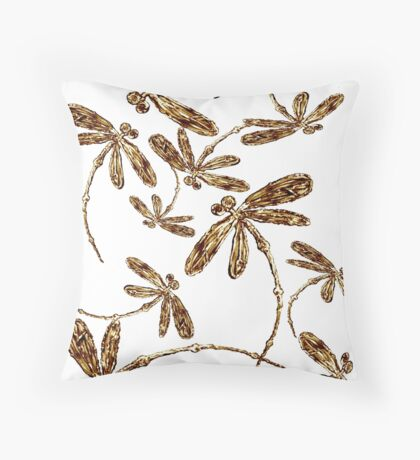 Golden Dragonfly Frenzy Throw Pillow