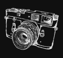 Vintage Rangefinder Camera Line Design - White Ink for Dark Background by strayfoto