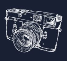 Vintage Rangefinder Camera Line Design - White Ink for Dark Background One Piece - Short Sleeve