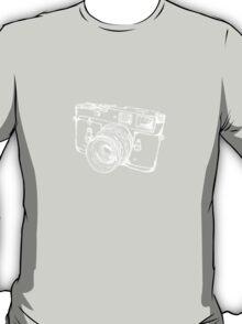 Vintage Rangefinder Camera Line Design - White Ink for Dark Background T-Shirt