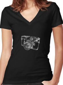 Vintage Rangefinder Camera Line Design - White Ink for Dark Background Women's Fitted V-Neck T-Shirt