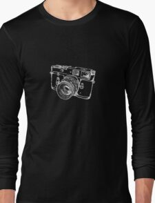 Vintage Rangefinder Camera Line Design - White Ink for Dark Background Long Sleeve T-Shirt
