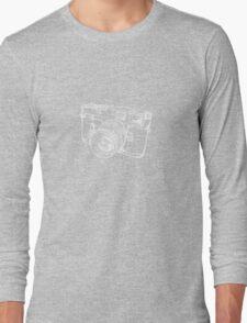 Vintage Rangefinder Camera Line Design - White Ink for Dark Background Long Sleeve T-Shirt
