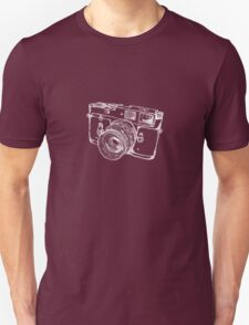 Vintage Rangefinder Camera Line Design - White Ink for Dark Background T-Shirt