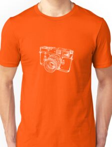 Vintage Rangefinder Camera Line Design - White Ink for Dark Background Unisex T-Shirt