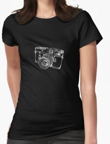 Vintage Rangefinder Camera Line Design - White Ink for Dark Background Womens Fitted T-Shirt