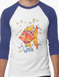 Happy Colorful Fish  Men's Baseball ¾ T-Shirt