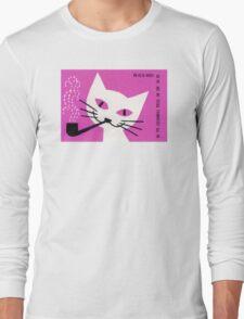 Pipe Smoking Cat Matchbox Label Long Sleeve T-Shirt
