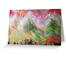 Green Top Mountains Greeting Card