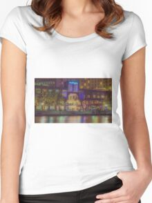 Southgate on the Yarra at Night Time - Melbourne Women's Fitted Scoop T-Shirt
