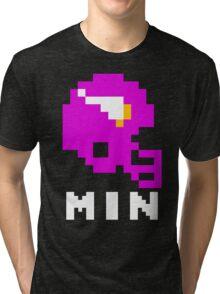 Tecmo Bowl Minnesota Vikings Football 8-Bit NES Nintendo Helmet Shirt T-shirt Tri-blend T-Shirt