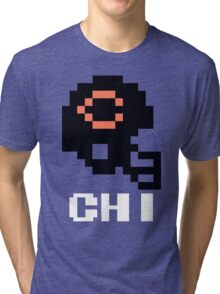 Tecmo Bowl Chicago Bears Football 8-Bit NES Nintendo Helmet Shirt T-shirt Tri-blend T-Shirt