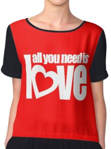 All you need is love white heart text on red Chiffon Top