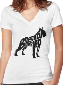 Boston Terrier Black Women's Fitted V-Neck T-Shirt