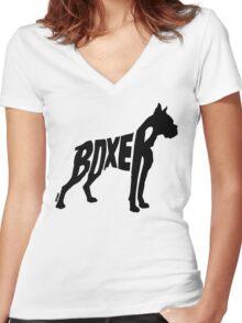 Boxer Black Women's Fitted V-Neck T-Shirt