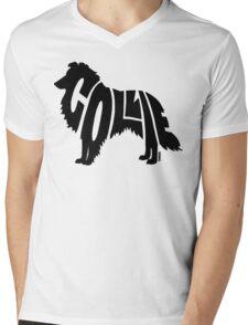Collie Black Mens V-Neck T-Shirt