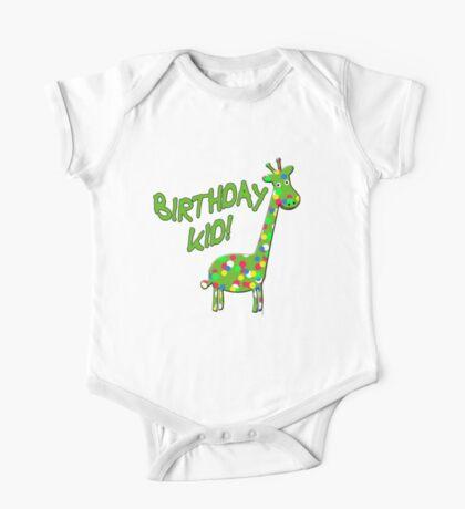 BIRTHDAY KID with Polka Dot Giraffe One Piece - Short Sleeve