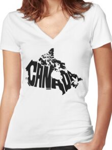 Canada Black Women's Fitted V-Neck T-Shirt