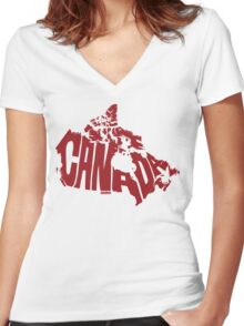 Canada Red Women's Fitted V-Neck T-Shirt