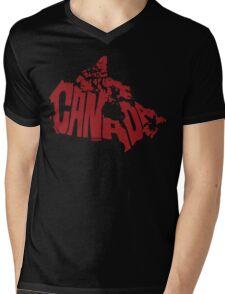 Canada Red Mens V-Neck T-Shirt