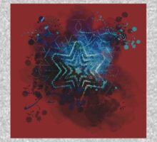 Blue star mandala on blood red One Piece - Short Sleeve