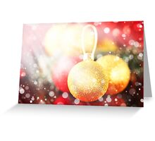 Christmas card with gold and red baubles  Greeting Card