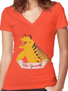 Bee Yourself Penguin Women's Fitted V-Neck T-Shirt
