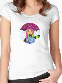 Umbrella Girl Round Women's Fitted Scoop T-Shirt