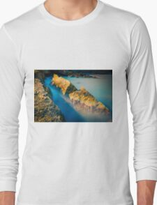 Rocks and misty blue ocean Long Sleeve T-Shirt