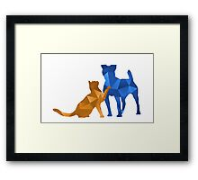 Moggy and Pooch #2. Blue&gold. Take your best friend everywhere. Framed Print