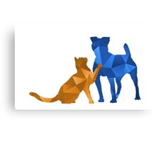 Moggy and Pooch #2. Blue&gold. Take your best friend everywhere. Canvas Print