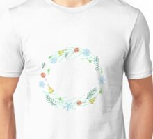 round frame of winter holiday things Unisex T-Shirt