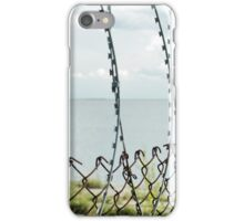 Sea behind barbed wire  iPhone Case/Skin