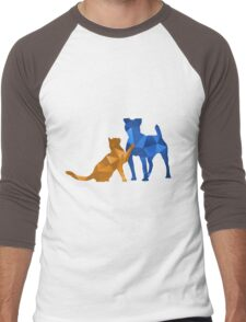 Moggy and Pooch #2. Blue&gold. Take your best friend everywhere. Men's Baseball ¾ T-Shirt