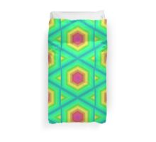 Neon Green Tribal Star Octagon Gate Geometric Mosaic Yellow Pink Cool Colorful Duvet Cover