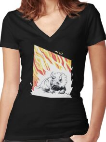 Bad day for triceratops. Women's Fitted V-Neck T-Shirt