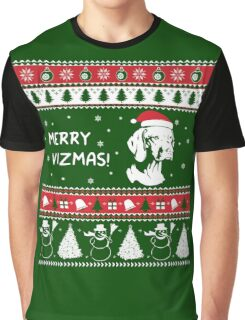 MERRY VIZMAS Art - Vizsla Ugly Christmas Sweater Design Graphic T-Shirt