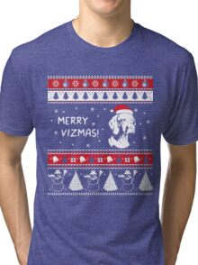 MERRY VIZMAS Art - Vizsla Ugly Christmas Sweater Design Tri-blend T-Shirt