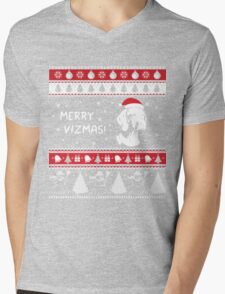 MERRY VIZMAS Art - Vizsla Ugly Christmas Sweater Design Mens V-Neck T-Shirt