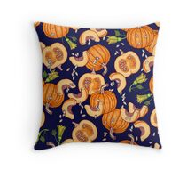 Pumpkin night life pattern Throw Pillow