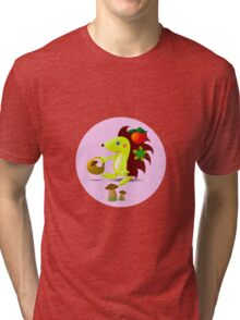 cute hedgehog collects apples and mushrooms in the forest Tri-blend T-Shirt